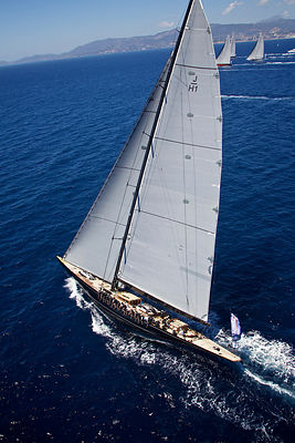 Aerial view of J-class yacht 'Ranger' racing on the second day of the Superyacht Cup, Palma, Majorca, Spain, June 2013. All n...