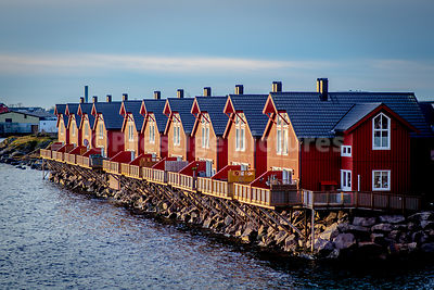 A line of traditional red Norwegian houses stand in the light of the setting sun facing out to sea