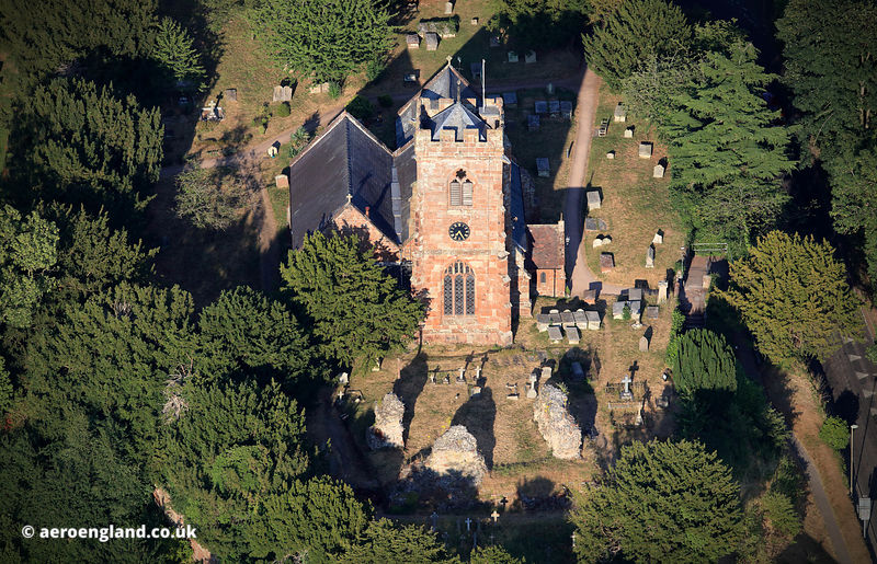 Ruyton-XI-Towns Castle &  St John the Baptist's Church aerial photograph