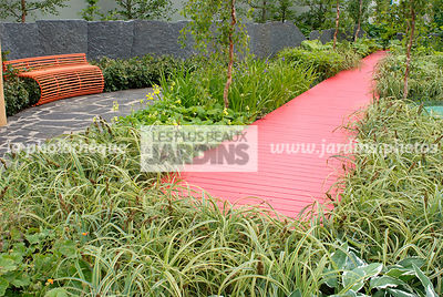 Border, Contemporary garden, Green, Monochrome, Perennial, Red, Single color, Single colour, Wooden footbridge, Digital, Gras...