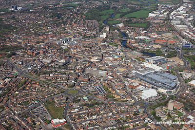 aerial photograph of Derby Derbyshire England UK