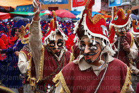 Old fashioned llamerada dancers at Oruro carnival, Bolivia