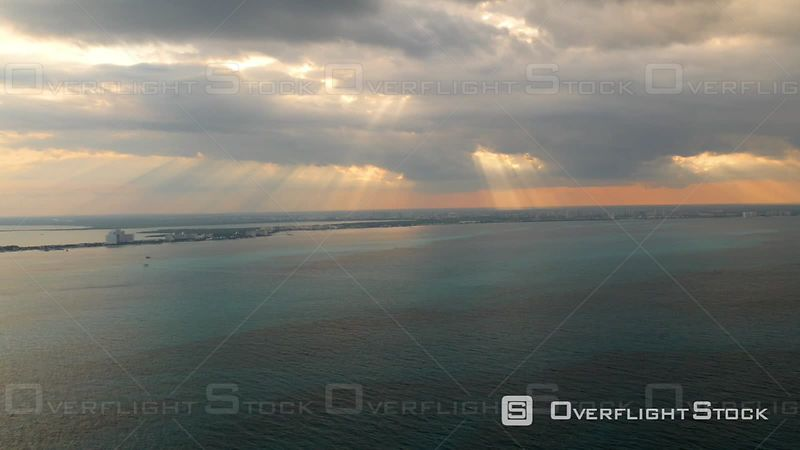 Aerial Footage of Sunset Over Ocean in Cancun, Mexico