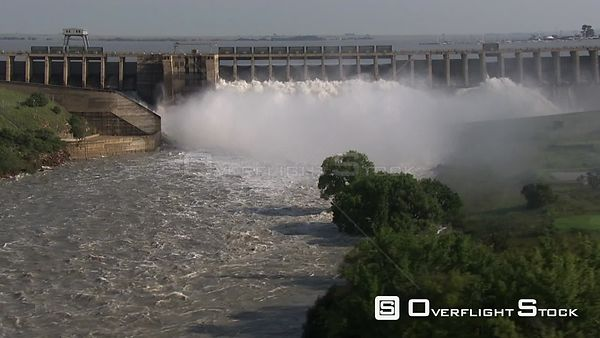 Aerial shot of the Vaal Dam's flood gates Bloemfontein Free State South Africa