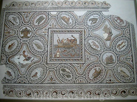 Roman Mosaic depicting fishermen and animals, Bardo Museum, Tunisia, Landscape