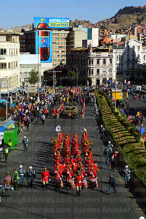 Los Colorados presidential regiment leads the parade taking caskets with remains of members of the Junta Tuitiva from San Francisco church to the cathedral during events to commemorate the uprising of July 16th 1809, La Paz, Bolivia