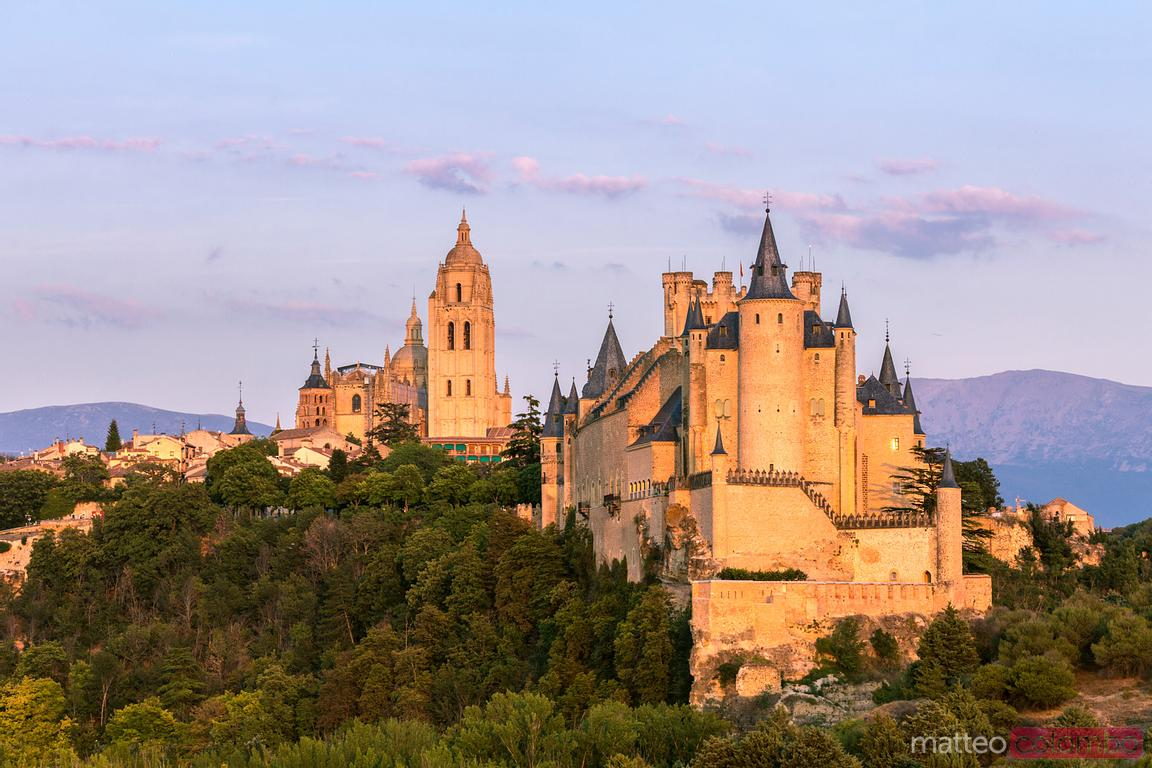 The Alcazar (castle) of Segovia at sunset, Spain