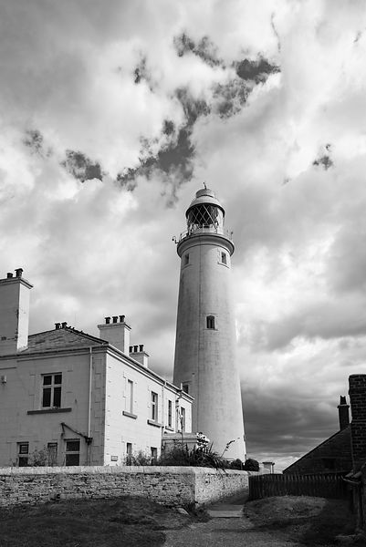 St Mary's Lighthouse buildings BW version