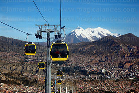 Yellow Line cable car gondolas, Zona Sur and Mt Illimani in background, La Paz, Bolivia
