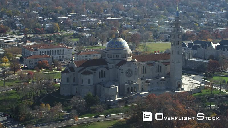 Over the Basilica of the National Shrine of the Immaculate Conception in Washington, DC. Shot in November