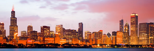 Chicago Skyline Panorama Photo at Dusk