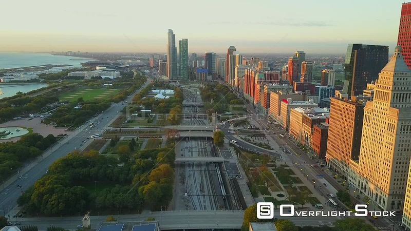 Grant Park Drone Video Downtown Chicago Illinois USA