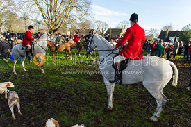 Huntsman Andrew Osborne and the Cottesmore Hounds at the Boxing Day Meet, Oakham 2012.