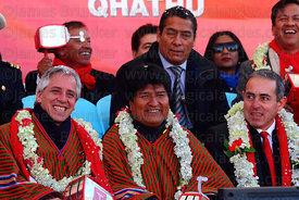 Bolivian president Evo Morales (centre) and vice president Alvaro Garcia Linera (left) during the cable car Red Line inaugura...