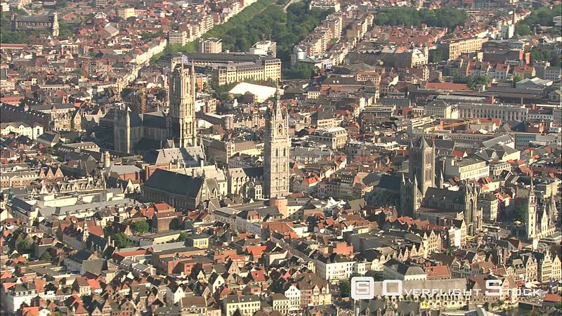 Flying past spires of Ghent, Belgium