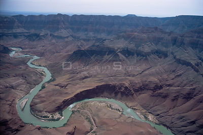 Aerial view of Grand Canyon NP, with Colorado river at bottom of gorge, Arizona, USA.BBC Planet Earth series.  May 2006
