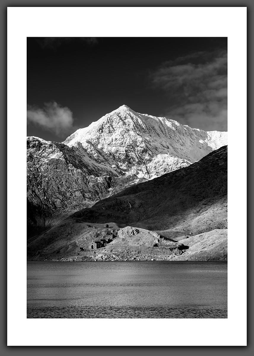 Snowdon and the Copper Mine, from Llyn Llydaw - Black and White Print