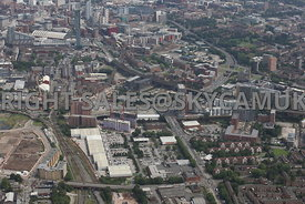 High level view looking down Regent road Salford towards Castlefield and Deansgate Railway Station and the development area o...