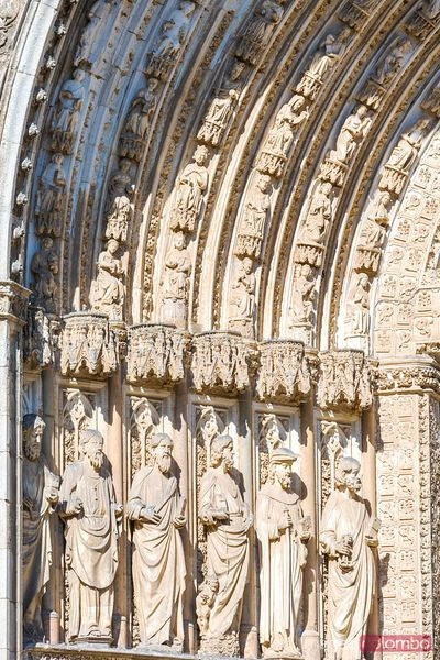 Sculptures on the cathedral's portal, Toledo, Spain