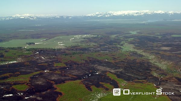 Scars from recent forest fires dot the landscape around the Madison River in western Yellowstone National Park, as the snowca...