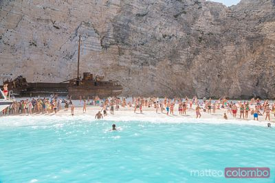 Famous shipwreck beach with people. Zakynthos, Greek Islands, Greece