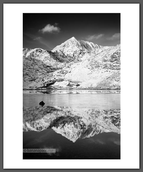 Snowdon, from Llyn Llydaw - Black and White Print