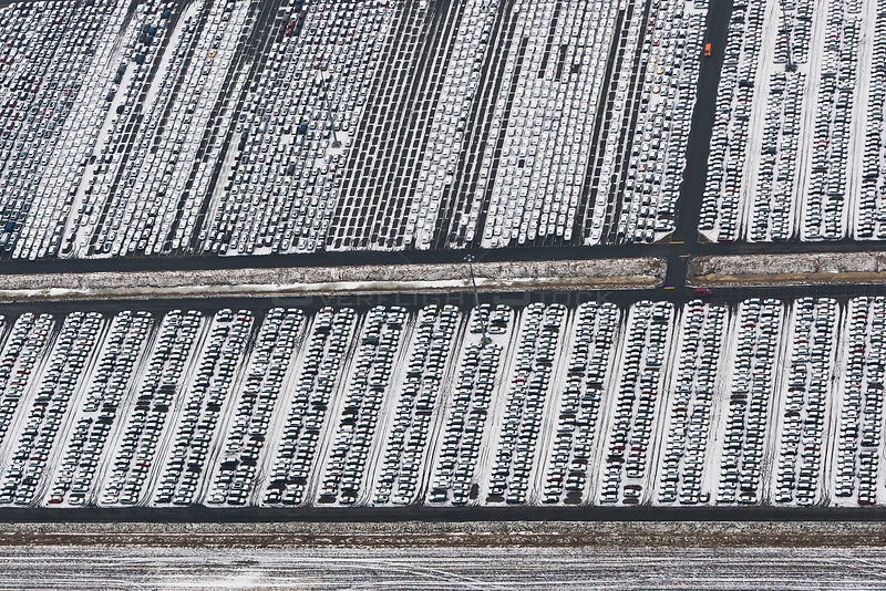 Aerial view of Emden Port in winter, new cars for shipping overseas, East Frisia, Lower Saxony, Germany, February 2012