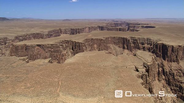 Aerial view of plateau cut by Arizona's Little Colorado River
