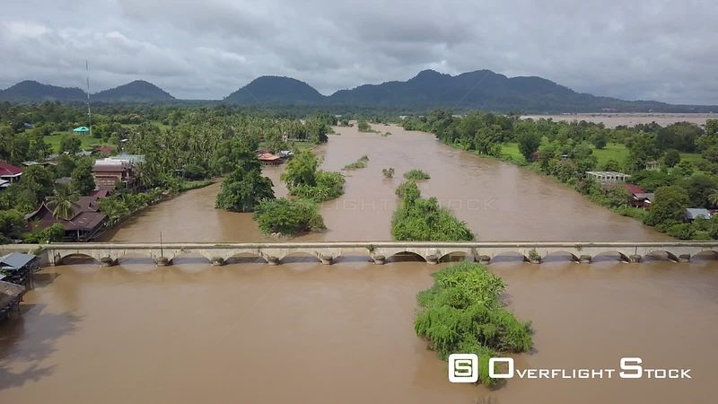 Aerial view of French colonial bridge between Don Khone Island and Don Det Island on Mekong river, 4000 islands, filmed by dr...