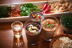 Bean stew booze appetizer
