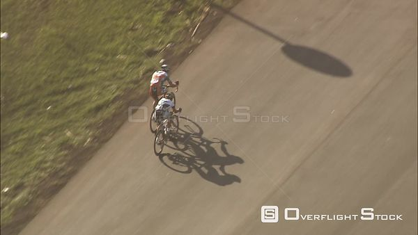 Aerial of two cyclists during a race. KwaZulu Natal South Africa