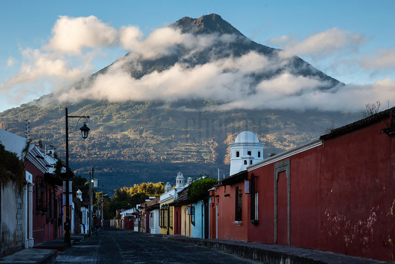 Street Scene with Volcán Agua in the Background