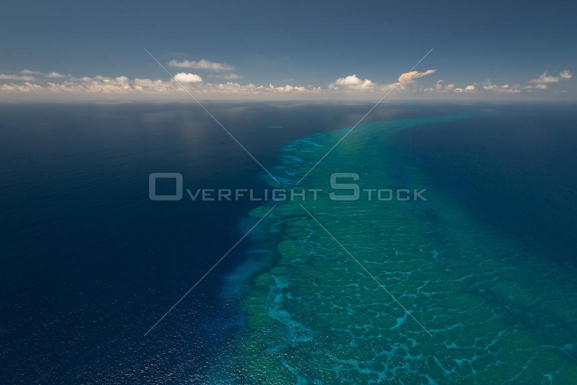 Aerial view of  hidden reef between Yasawa and Vanua Levu Great Sea Reef, Western Division, Fiji. December 2013.