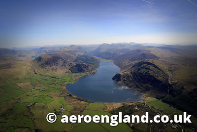 aerial photograph of Ennerdale Water in the Lake District  Cumbria England  UK
