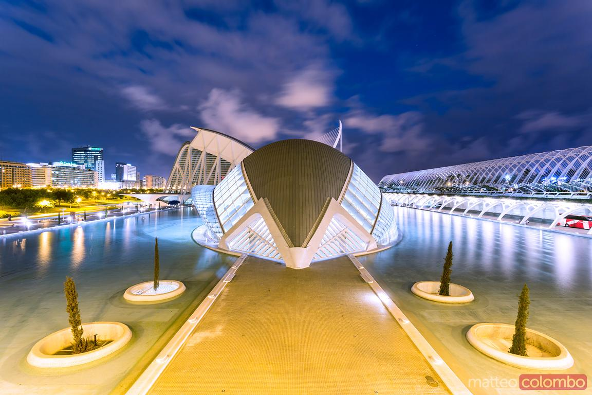The Hemispheric at night, City of Arts and Sciences, Valencia, Spain