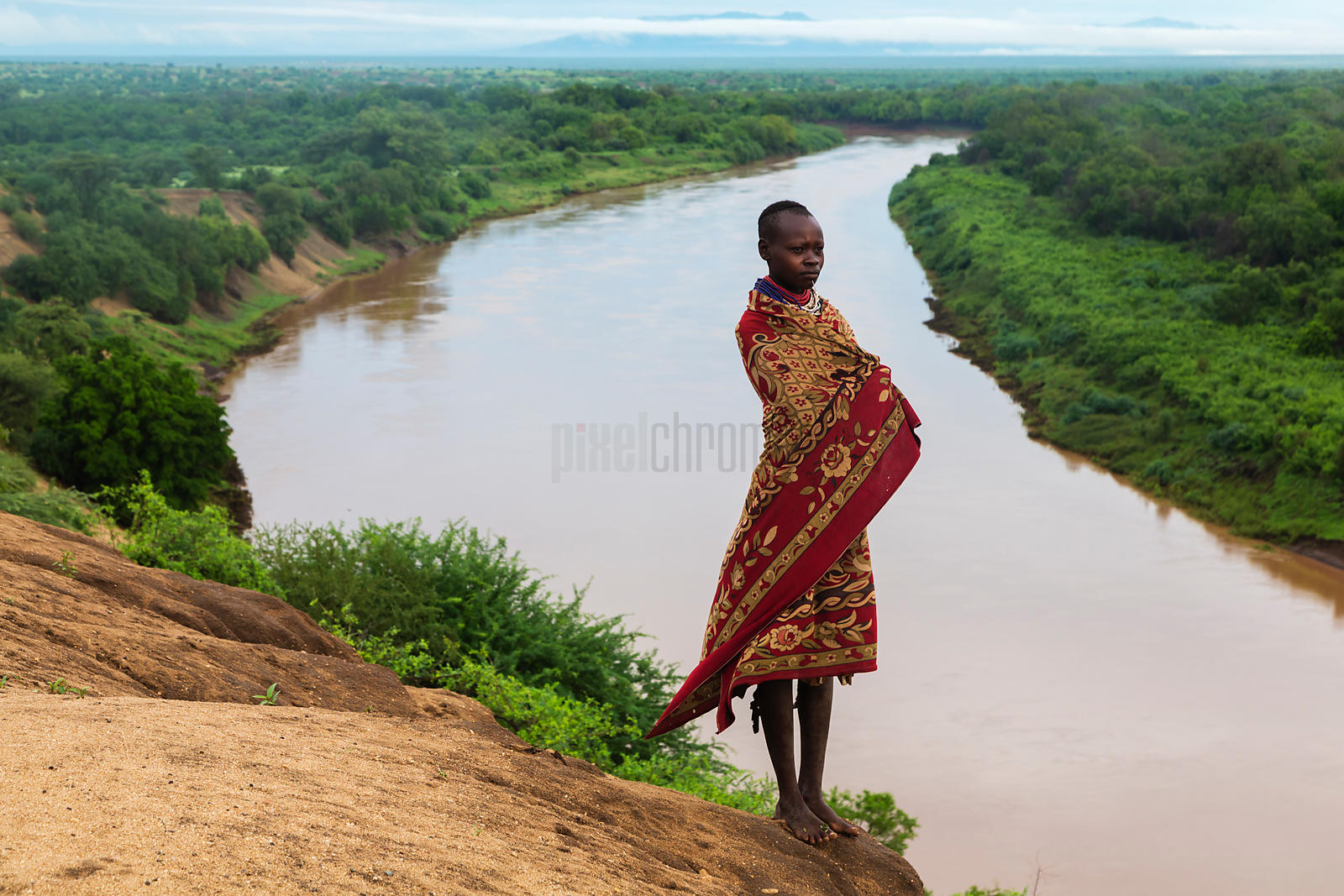 Portrait of a Young Woman on the Bank of the Omo River at Dawn