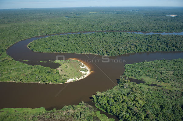 Aerial view of Guaporé / Itenez River and rainforest at the border Brazil and Bolivia