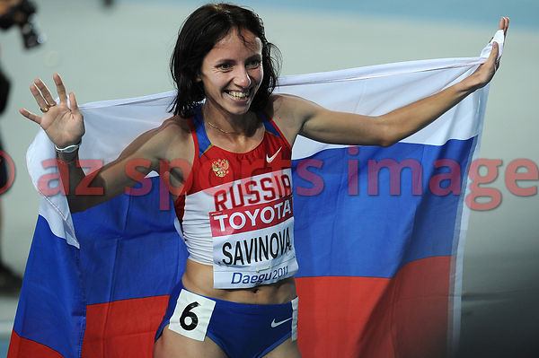 Mariya Savinova from Russia, the new world champion in the 800m with 1:55:87 sec.