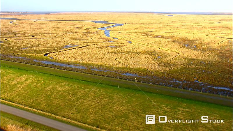 Verdronken Land van Saefthinghe flooddrowned coastal area of The Netherlands, from the air