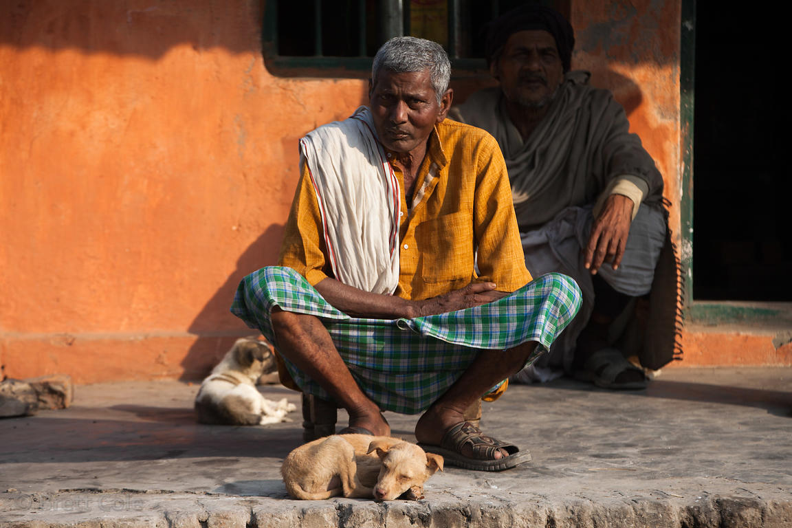 A man sits on a stoop near a puppy in Sarnath, near Varanasi, India. Sarnath is an important historical site to Buddhists.