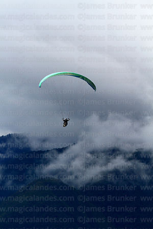 Paragliding near Coroico, North Yungas province, Bolivia