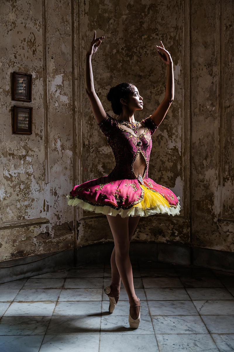 Ballerina Posing in Colonial Home