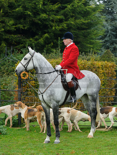 Huntsman Andrew Osborne at the meet - The Cottesmore at Langham.