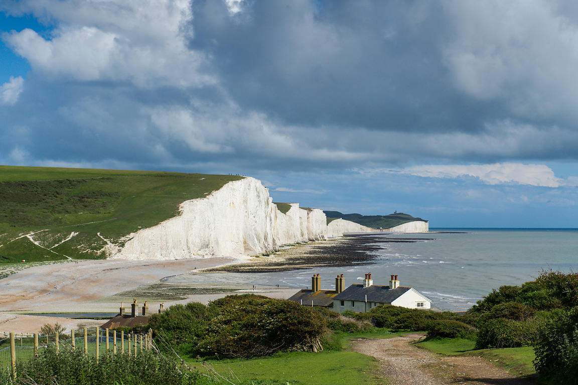 Seven Sisters cliffs and coastguard cottages