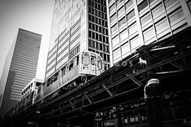 Chicago Elevated L Train in Black and White