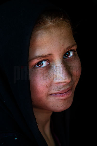Portrait of a Young Indian Girl with European Features