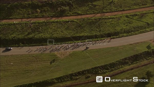 Aerial of a cycle race. KwaZulu Natal South Africa