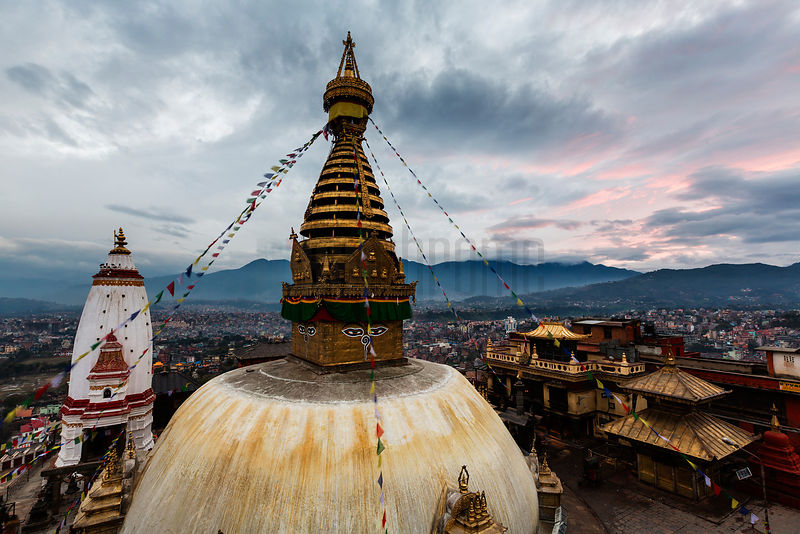Elevated View of Swayambhunath (The Monkey Stupa) at Dusk