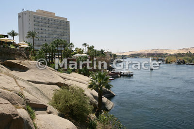 The New Cataract Hotel and River Nile at Aswan, Egypt
