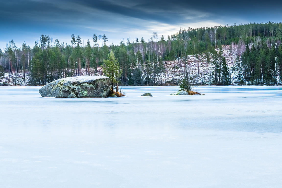 Rock and trees in frozen lake